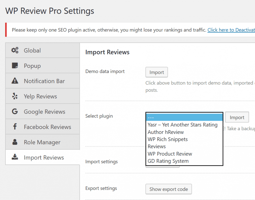 wp review pro review of settings