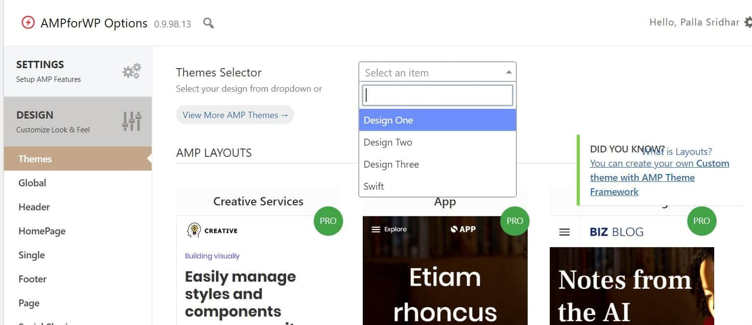 amp for wp themes