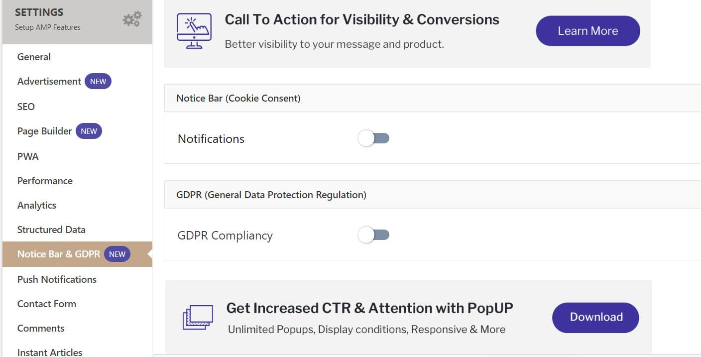 gdpr compliancy page for amp pages