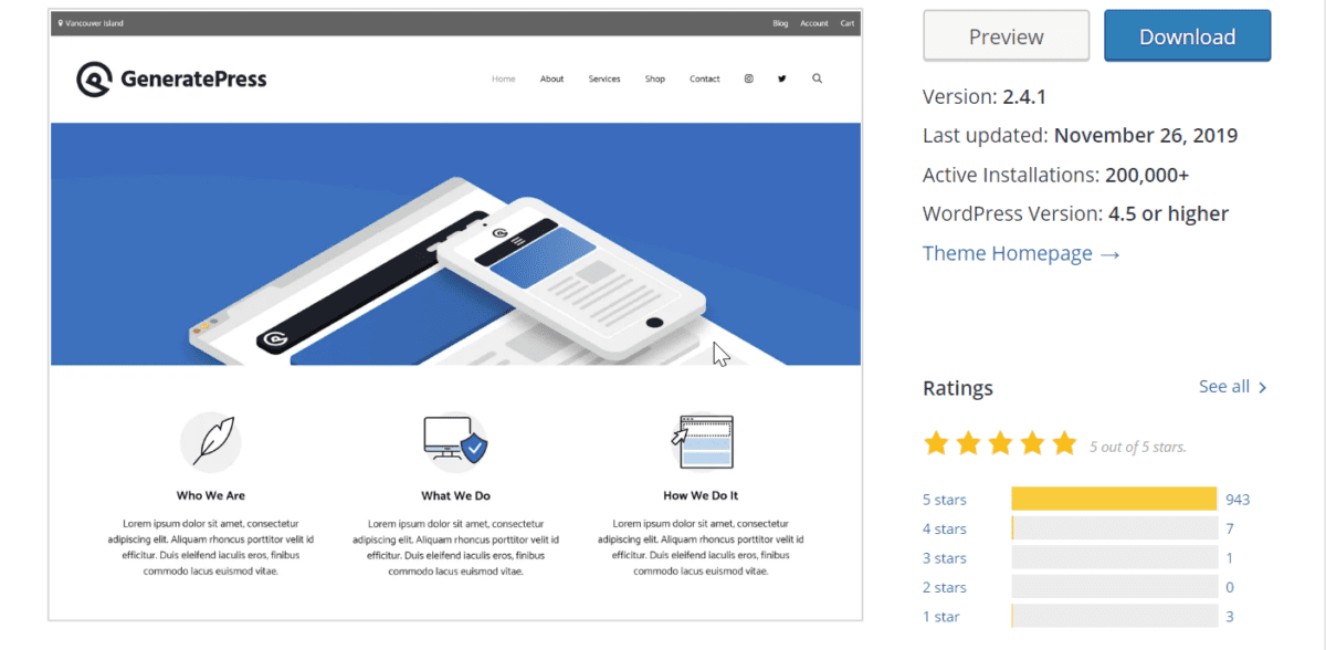 Generapress Theme Details in Wordpress.org repository