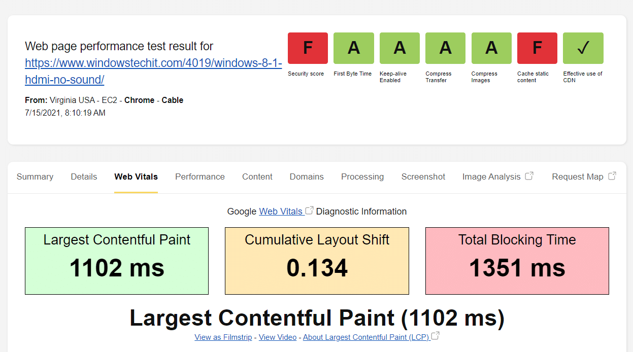 webpagetest with wp rocket plugin
