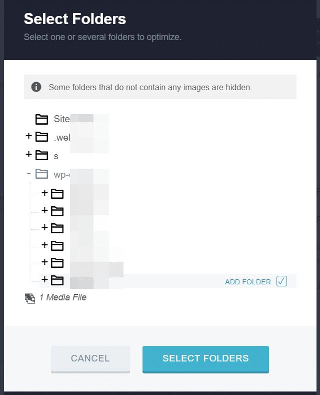 select folders for web optimized images - image optimizer