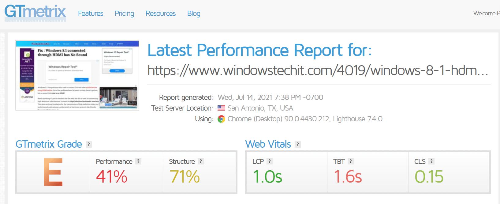 wp rocket plugin gtmetrix test