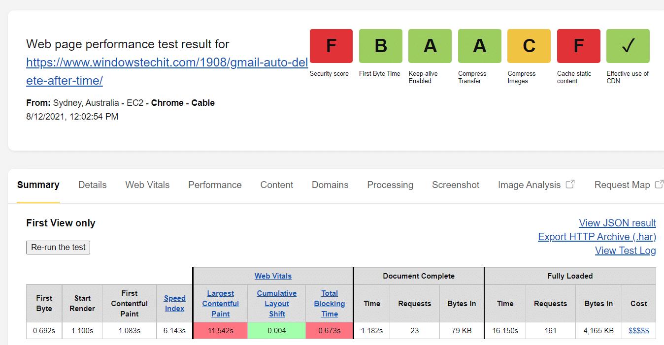 web page test results using dreampress plan
